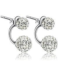 Fashmond- Doubles Boucles d'oreilles shamballa- Argent fin 925 et pierre en oxyde de zirconium- Deux façons de porter- Idée Cadeau Anniversaire