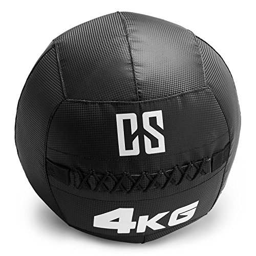 Capital Sports Bravor • Medizinball • Wall Ball • Fitness Ball • Krafttraining • Ausdauertraining • Functional Training • extrem Griffige Oberfläche • Studio Qualität • schwarz • Gewicht: 4 kg