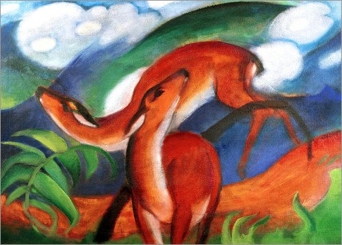 Posterlounge Acrylglasbild 130 x 100 cm: Rote Rehe II von Franz Marc/akg-Images - Wandbild, Acryl Glasbild, Druck auf Acryl Glas Bild