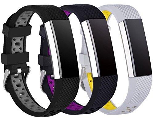 Preisvergleich Produktbild Greatfine Fitness Armband Sport Smart Watch Fitness Armbands Ersatzarmband für Fitbit Alta / Fitbit Alta HR Classic Herzfrequenz Smart Watch Fitness Tracker Zubehör (Free Size, BlackPurple/GreyYellow/BlackGrey 3)