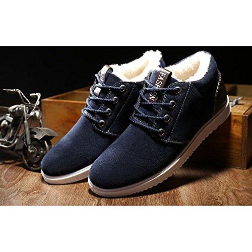 Juleya scarpe da ginnastica invernale per Uomo - Suede Warm Fodera Sneaker Flat Trainers Stivaletti in Chiusura in Pelle Slipper Scarpe Sportive Blu