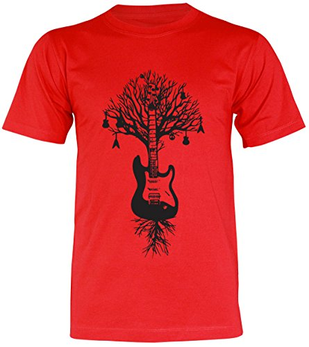 PALLAS Unisex's Guitar Tree Graphic Art T Shirt Red