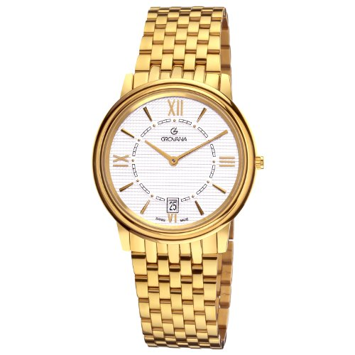 GROVANA 1708.1112 Men's Quartz Swiss Watch with Silver Dial Analogue Display and Gold Stainless Steel Bracelet