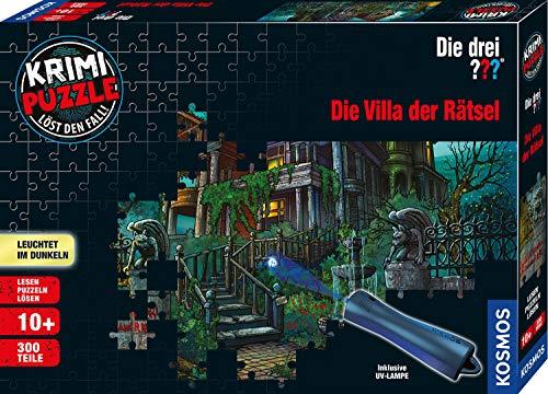 KOSMOS 697976 - Krimi Puzzle: Die drei ??? - Die Villa der Rätsel, Leuchtet im Dunkeln, 300 Teile mit UV-Lampe, Lesen - Puzzeln - Rätsel lösen, für Kinder ab 10 Jahre