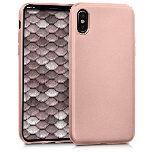 kwmobile Apple iPhone X Hülle - Handyhülle für Apple iPhone X - Handy Case in Metallic Rosegold