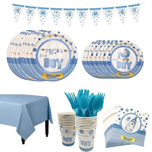 he Party Boy Geschirr-Set Kindergeburtstag Teller Becher Servietten Tischdecke - Für eine It's a Boy Junge Babyparty (8 Personen). ()