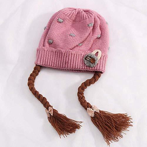 renes Baby Kind Hut Frau 0-2-3 Jahre alt Herbst und Winter kleine Mädchen Perücke handgemachte gestrickte Wolle HatB (Color : E) ()