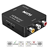 HDMI auf AV,GANA 1080P HDMI zu RCA Konverter 3RCA CVBS Composite Video Audio HDMI to AV Adapter mit USB Ladekabel für TV DVD PAL PS3 NTSC(Schwarz)
