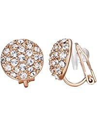 Yoursfs 18ct White/Rose Gold Plated Sqaure Cut Dazzling Diamante Stud Earrings for Women Bridal Wedding Fashion Jewellery Gift
