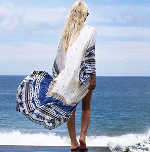 GenialES Bohémien Paréo Tunique Maillot de Bain Imprimé Floral de Plage Bikini Cover Up Taille Unique Blanc
