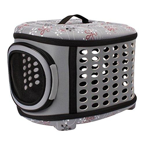 JEELINBORE Stabile Transportbox Sportlich Kleine Transporttasche Hundetasche für Tiere Katze Hunde Faltbare Haustier Tasche (Grau, L)