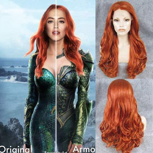 Aquaman Mera Cosplay Perücke, für Damen, gewelltes Haar, mit Babyhaar, modische Farbe, lang, gelb, Kunsthaar, 61 cm