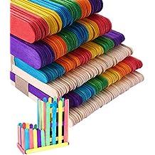 Palitos De Madera Manualidades Palitos De Madera Helado 200Pcs Multicolor Palitos de madera +100Pcs Natural