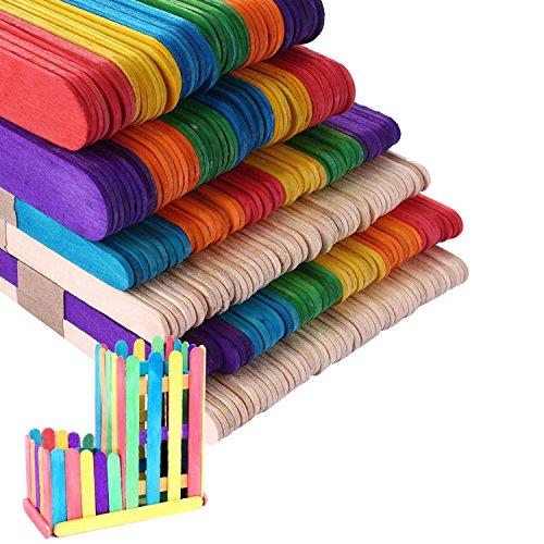 Detalles del producto:  Meterial: madera  Color: natural + color  Tamaño: 114 mm * 10 mm * 2 mm   140 mm * 10 mm * 2 mm   150 mm * 18 mm * 1,6 mm      Paquete incluido:  100 x 114 mm * 10 mm * 2 mm Palos de madera de color  100 x...