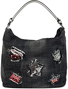 [Gesponsert]styleBREAKER Jeans Beuteltasche mit Patches im Strass und Pailletten Look, Shopper Handtasche, Schultertasche,...