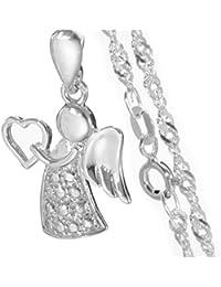 Schmuck für Kinder: Schutzengel mit Herz Anhänger mit 40 cm Silberkette aus 925er Silber#735
