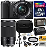Sony Alpha A5000 20.1 MP Interchangeable Lens Camera With 16-50mm OSS Lens (Black) ILCE5000L & Sony E 55-210mm F4.5-6.3 OSS Lens For Sony E-Mount Cameras With Must Have Accessories Bundle Kit Includes 32GB Class 10 SDHC Memory Card + Replacement (1200