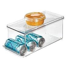 iDesign Box frigo con coperchio, Piccoli contenitori frigorifero in plastica adatti per 9 lattine, Contenitori per alimenti versatili, trasparente