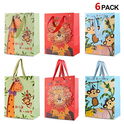 (Howaf 6 Stück Zoo Tier Geschenktüten Papiertüten Kindergeburtstag Mitgebsel Partytüten Geschenktütchen süßigkeiten tüten für Kinderparty Jungle Mädchen Kindergeburtstag, 23 x 18cm)