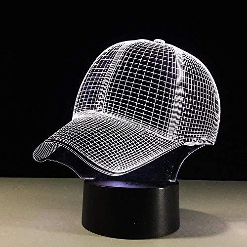 Generic Baseball Cap Tischlampe Touch Night Light 7 Farbwechsel Schlaf Tischlampe Acryl 3D Hut Tischlampe Sport Fan