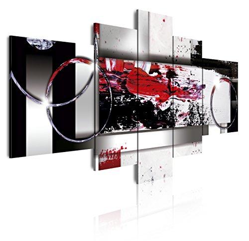 DEKOARTE 86 - Cuadro moderno en lienzo 5 piezas estilo abstracto en tonos rojo, blanco y negro, 180x3x85cm