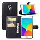Tasche für Meizu MX4 Pro (5.5zoll) Hülle, Ycloud PU Ledertasche Flip Cover Wallet Case Handyhülle mit Stand Function Credit Card Slots Bookstyle Purse Design schwarz