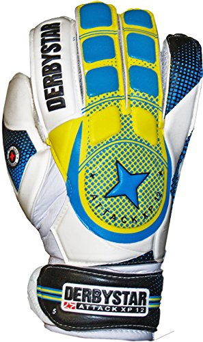 Derbystar Herren Attack XP 12 Torwarthandschuhe, Weiß/Blau/Gelb, 4