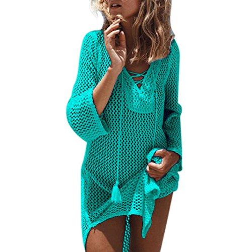 Strandkleid, Huihong Womens Kurzes Kleid Aushöhlen Badeanzug Bikini Spitze Häkeln Vertuschen (Grün, Free Size)
