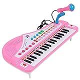 TXXCI 37 Key Musikspielzeug Elektronisches Keyboard Klavier mit Mic für Kinder - Rosa