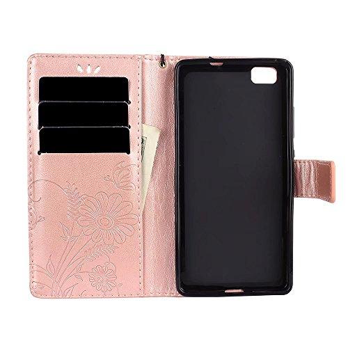 Horizontale Bookstyle Flip Case Premium PU Ledertasche, Solid Color Embossed Blumen Schutzbrieftasche Case Cover mit Lanyard & Stand für Huawei P8 Mini (P8 Lite) ( Color : Modena ) Rose gold