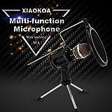 XIAOKOA PC Microphones à condensateur, jeux de microphones pour téléphone, inclus microphone de bureau Stand avec filtre acoustique double couche pour enregistrement, podcasting, conversation en ligne comme Facebook, MSN, Skype (M3)