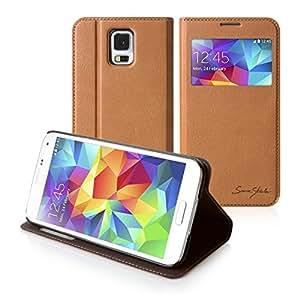 Tridea - Galaxy S5 Case Italian Window Standing View Card Pocket Flip Case [BROWN] Window Display View Card / ID Slot Standing Flip Cover Italian Leather Case for Samsung Galaxy S5 / Galaxy SV / Galaxy S V (2014)