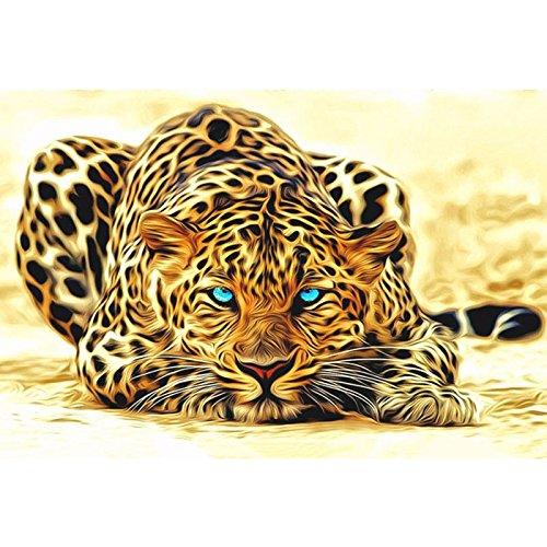 Bilderrahmen Wand-staffelei (WeterCos (TM) ungerahmt Leopard Tiere DIY Malen nach Zahlen Acrylbild Wandkunst Leinwandmalerei home decor einzigartiges Geschenk 40x50cm Kunstwerk (40cmx50cm kein gestaltet))