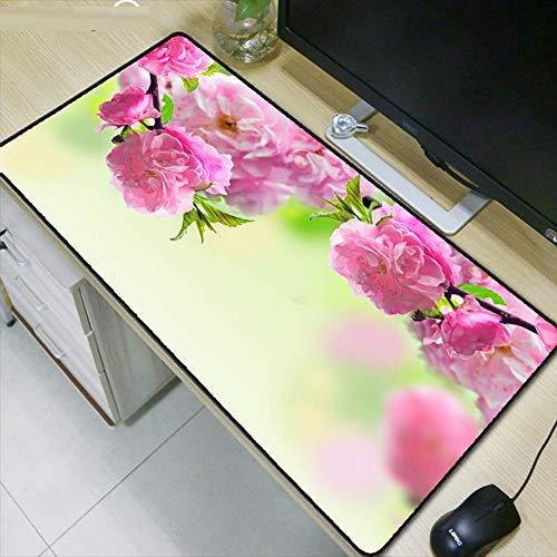 Spiel Mauspad Soft Rubber Pink Flower Tröster Spielmatte Mauspad Computer Laptop Large Lock Edge Mauspad, 80x30cm -