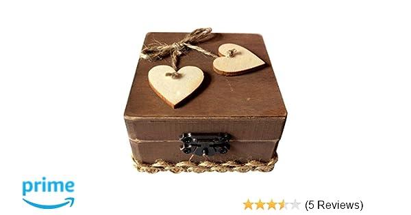 OUNONA Dekor-Holzkiste f/ür Verlobungs oder Eheringe rustikal verziert mit Zwei gro?en Herzen