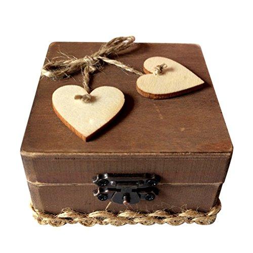 ounona caja anillo de doble amor corazón de madera rústico, compromiso, boda anillo portador Square Box Holder