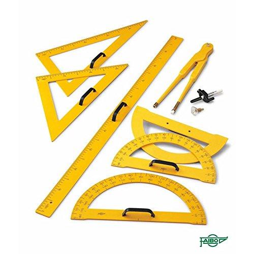 Conjunto material para pizarras (regla,semicirculo,escuadra,cartabón y compas)