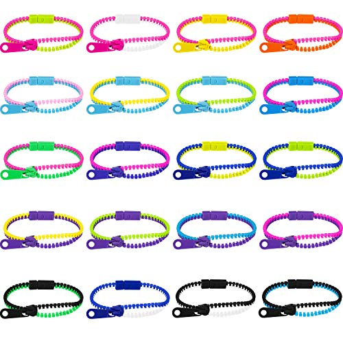 20 Styles 7.5 Inches Friendship Fidget Zipper Bracelets Sensory Toys Bracelet for Birthday, Party Favors, School Students Kids, Goodie Bags