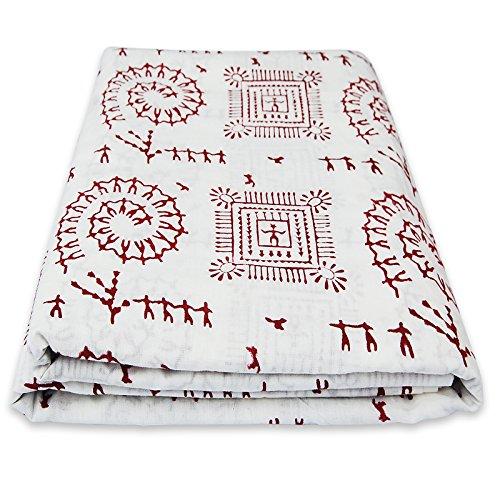 Traditional Jaipur Block gedruckt Baumwollgewebe Hand gedruckt indischen Stoff, weicher Baumwollstoff von The Yard Stoff, Jaipuri Kurti Print Stoff für Schals, Sommerkleid Stoff (20 Yards) -