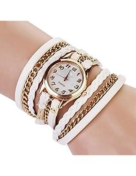 SSITG Damen Uhr Armbanduhr Wickelarmband Wickeluhr Retro Vintage Leder Optik Shell Dial