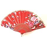 AUM- Lace Trim Colorful, Flower Floral Pattern, Hand Held Folding Bamboo Japanese Silk Hand Fan (Red - L).100% Hand Crafted, Gift Fan For Girls, Women, Wedding Party. Buy 100% Original Imported Hand Fan From Aum Impex Only