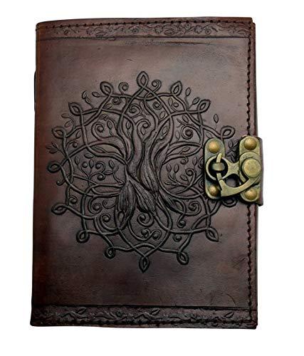 Fantasy Gifts 2640 Tagebuch aus Leder, geprägt, 12,7 x 17,8 cm, Braun - Geprägtes Leder Stamm