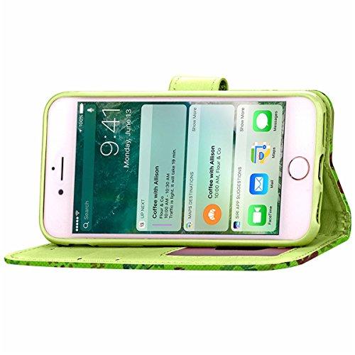 iPhone 7 Coque, Apple iPhone 7 Coque, Lifeturt [ Marron foncé ] Motif Pure Couleur Housse en Cuir Case à Avec La Fonction Stand Coque de Intérieure Protection Souple Coque Portefeuille TPU Silicone Ca E2-Vert