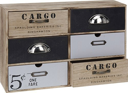 Mini Kommode CARGO Schränkchen Kleiner Schrank 6 Schubladen Shabby Chic Aufbewahrungsschrank (Schwarze Kommode, 6 Schubladen)