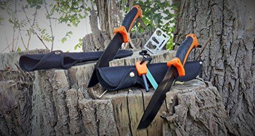 *4er Mega Survival Ultimativ Kit* Drop-Point + Tanto Outdoor Messer Set + Feuerstarter + 12in1 Survival-Card