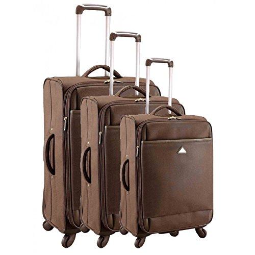Set de 3 valises chariot 4 roues smart pvc I marron