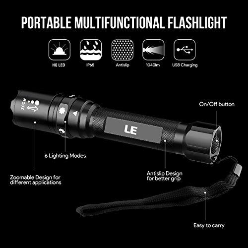 LED Taschenlampe wasserdicht wird per beigelegtem Mikro-USB-Kabel aufgeladen Abbildung 2