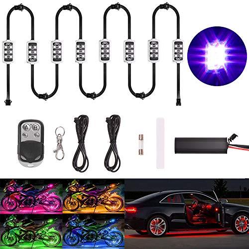 Goodway 8 Pcs Kit luce a LED Multicolore Telecomando senza fili Automobile Atmosfera moto Luci al neon RGB Breath Mode Luce effetto terra 2018 Nuovo design