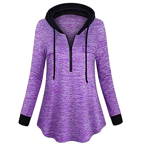 UJUNAOR Damen Hooded V-Neck Top Pullover Frühling Lässig Langarm Sweatshirt(Lila,EU S/CN M)