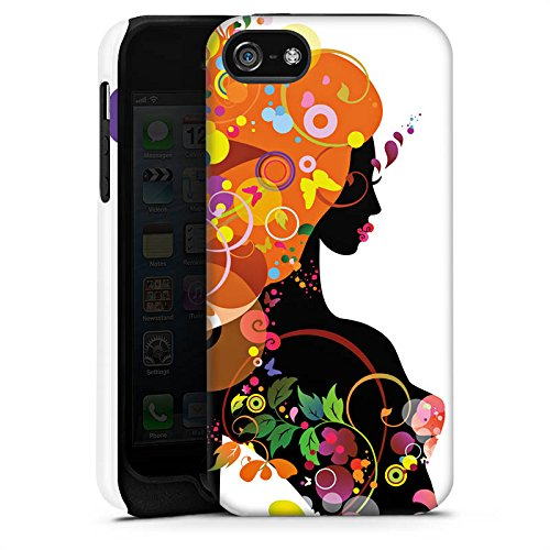 Apple iPhone X Silikon Hülle Case Schutzhülle Frau Schmetterling Blumen Tough Case matt